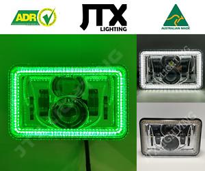 "JTX, 1 Pair Chrome LED Headlights, 4x6"", White & Green Halo, Toyota Landcruiser"