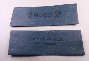 10 Vintage $2 Nickel Flat Wrap Roll //// FIRST NATIONAL BANK DENVER //// 10 Wraps