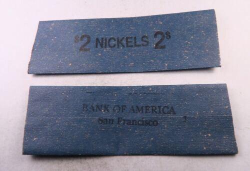 10 Vintage $2 Nickel Flat Wrap Roll //// BANK OF AMERICA SAN FRAN //// 10 Wraps