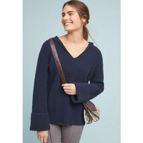 ANTHROPOLOGIE Navy Stitched Sweater Hoodie