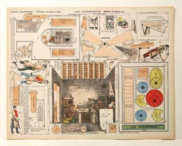 Imagerie D'Epinal No546 Le Forgerons Grandes Constructions Mécanisme paper model
