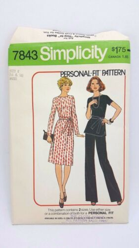 Vintage SIMPLICITY Misses Dress Top & Pants Size 14 & 16 #7843 from 1976