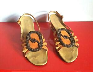 Eleganti-sandali-donna-in-vera-pelle-di-colore-arancio-con-fibbia-N-38-Vintage