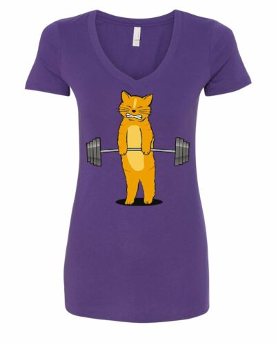 Cat Deadlifting Women/'s V-Neck T-Shirt Funny Buff Kitten Gym Workout Powerlift