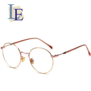 fd37ab1dc2e7 LE Korean Women Round Glasses Frame Rose Gold Optical Eyewear Rx ...