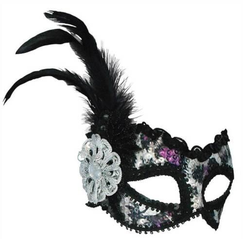 Argento e Viola Paillettes MASK MASQUERADE maschera occhi MASKED BALL FANCY DRESS