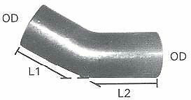 """4"""" ID/OD 30 Degree Exhaust Elbow Pipe - 4"""" Arms - Aluminzed 16 Ga Steel"""