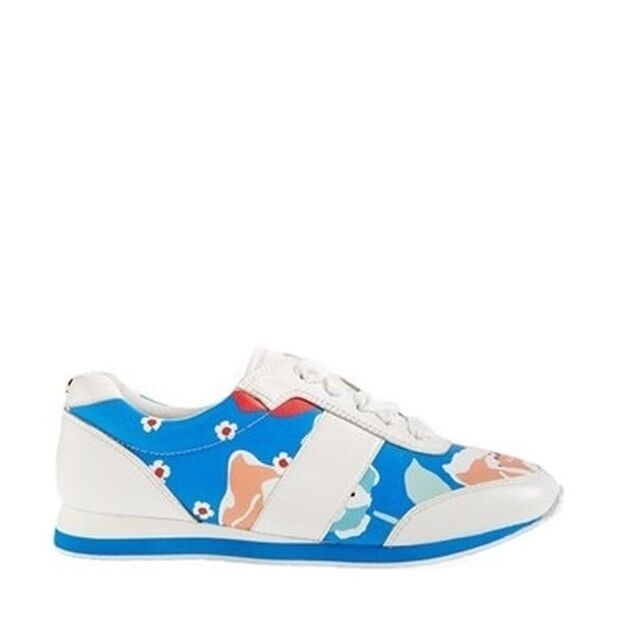 Kate Spade New York 'Sidney' Leather White/Blue Sneakers Size 6 M NEW