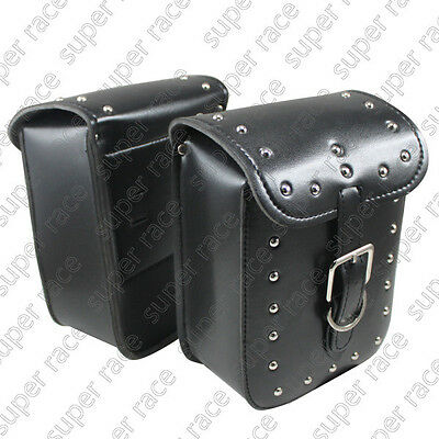 Universal Black Rectangle Motorcycle Motorbike PU Leather Saddle Bags Side Bags