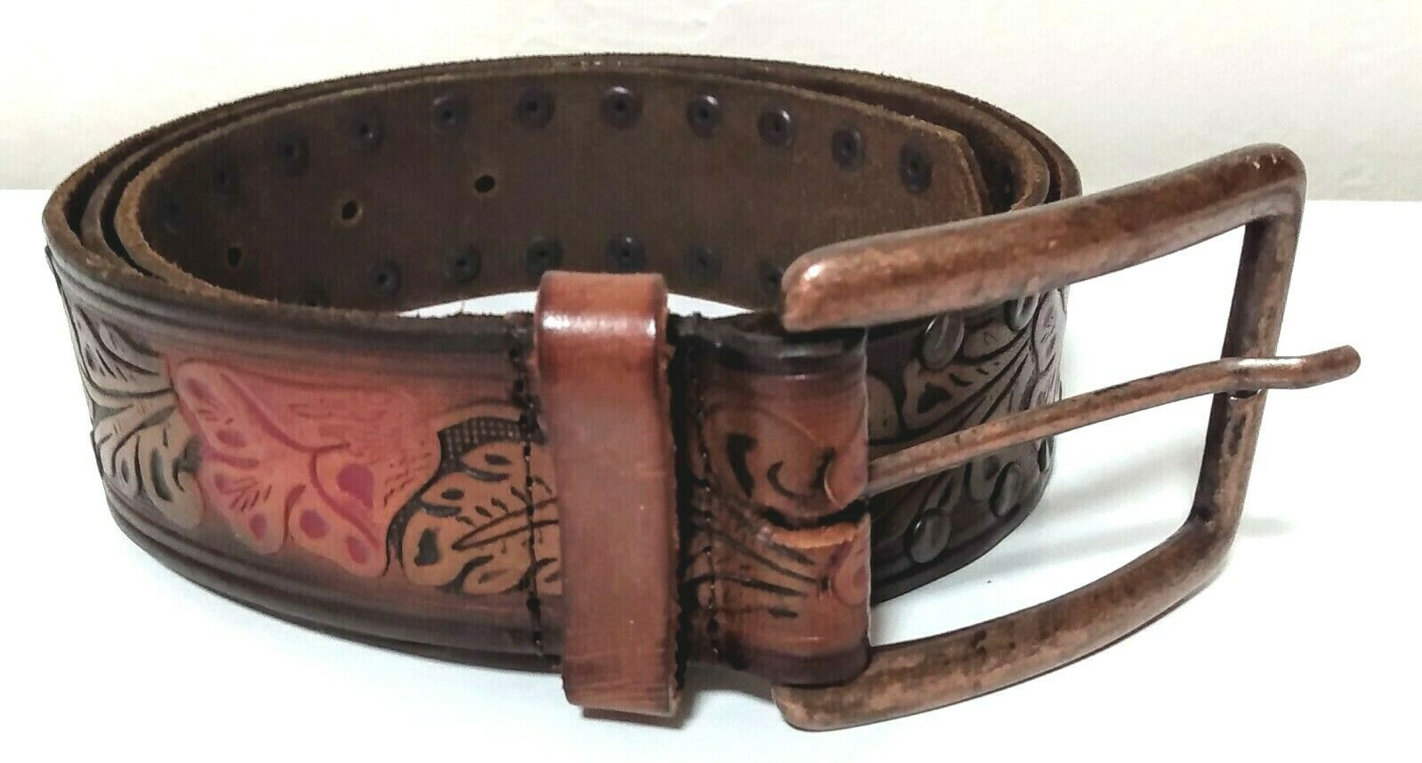 NINE WEST GENUINE LEATHER TOOLED AND RIVETED BELT COWGIRL SIZE LG LADIES WOMEN