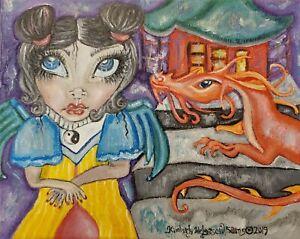 Faery-Temple-Dragon-Original-Acrylic-Painting-8-x-10-Asian-Yin-Yang-Artist-KSams