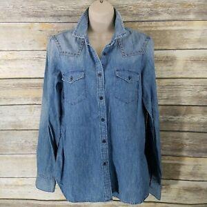 f3d084df423 Gap 1969 Size M Denim Western Shirt Studded Medium Wash Distressed ...