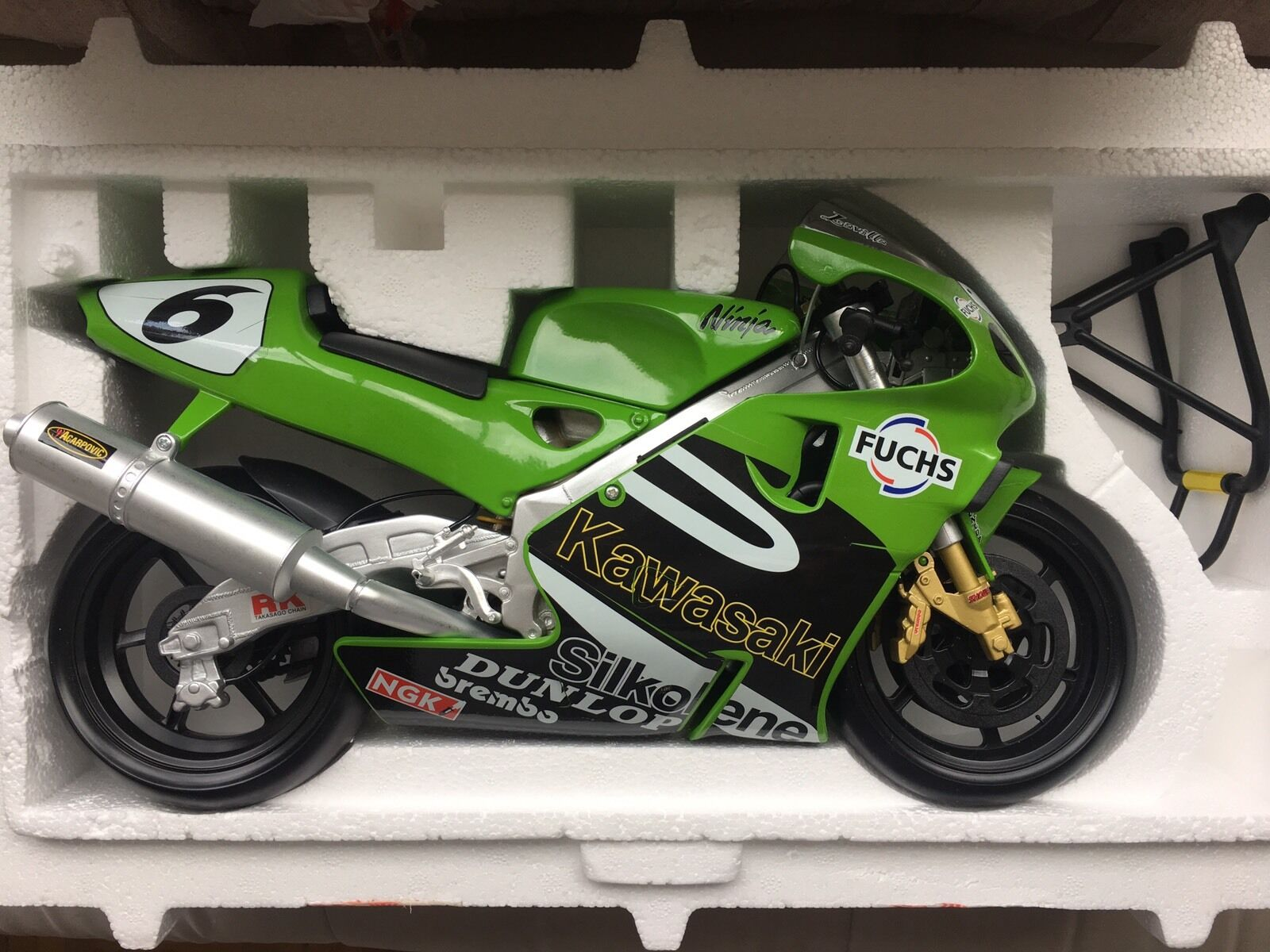 Guiloy Kawasaki ZX 7RR Ninja Fuchs Metal tärningskast 1  6 MotoGP 2001 Laville tävlings