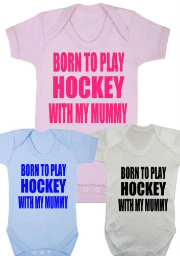 Body Baby boy né à jouer au hockey avec mon momie Gilet girl cadeaux vêtements pour bébé