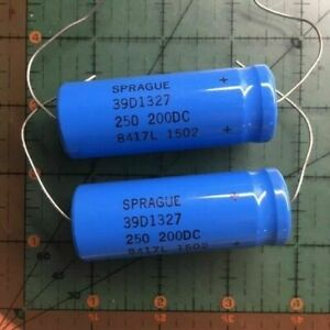 Lot of 2 Sprague 270uF 200V Axial Electrolytic Capacitor 39D277F200JP4