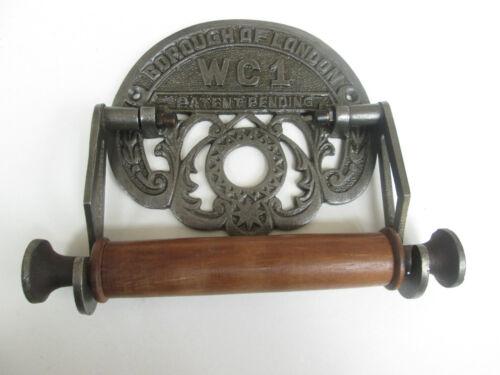 Vintage Retro Alter Stil Gusseisen und Holz Toilettenrollenhalter