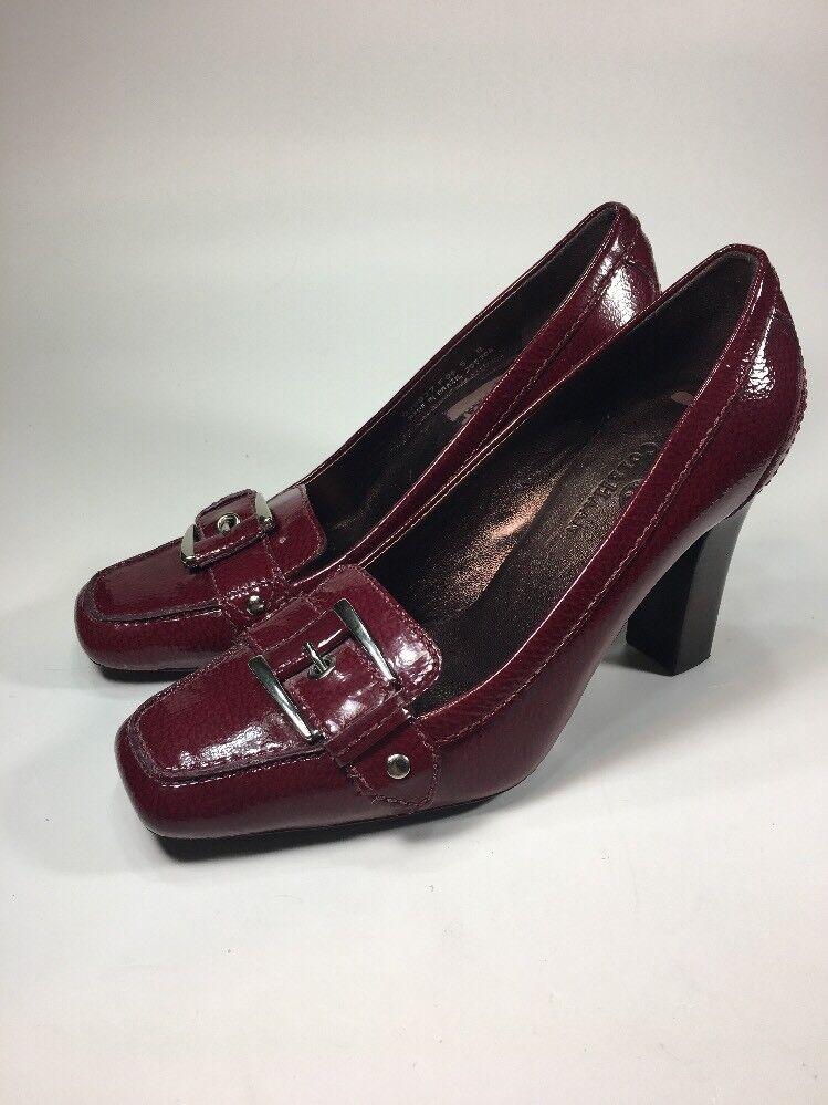Cole Haan ROT Patent Leder Buckle Block Heels Damenschuhe Größe 5 B
