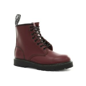 Grinders Cedric Red Cherry Leather Combat Boots 8 Eyelet Boot Punk non safety