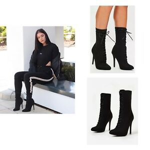 Womens-Ladies-High-Stiletto-Heel-Lycra-Stretch-Pointed-Toe-Lace-Up-Ankle-Boots