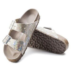 Birkenstock Arizona Sandali in pelle stretto Macchiato Metallic Silver 1006740