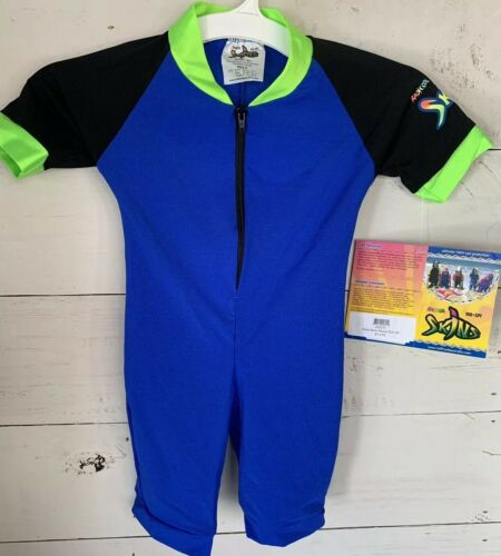 Radicool Skins Kids Australia Blue Rash Guard Short Sleeve Swim Body Suit Size 2