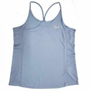 Nike-Women-039-s-Running-Dri-Fit-Mesh-Back-Tank-Top-Light-Blue-Racerback-S-XL
