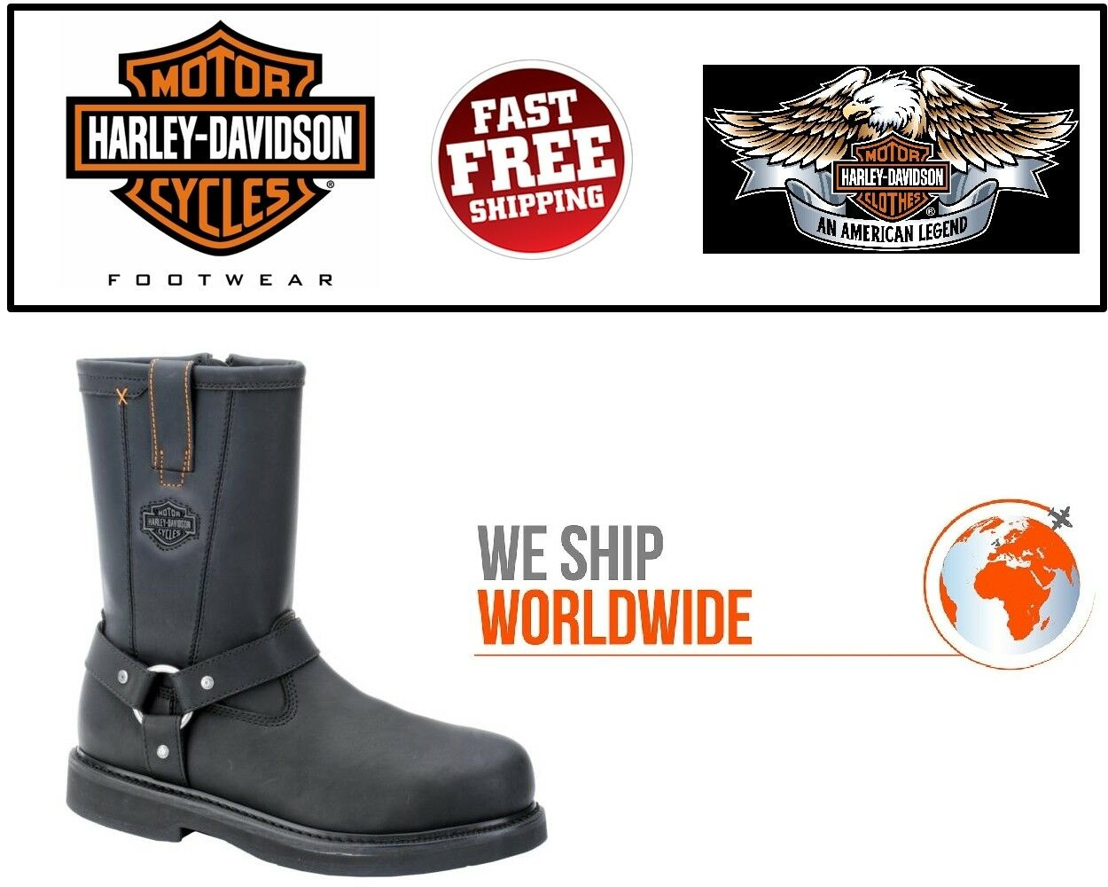 Harley-Davidson® D95328 Mens Bill Steel Toe Black Leather Riding MC Boots-US COM