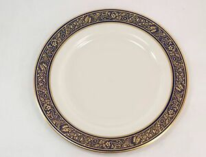 Lenox-China-Barclay-Dinner-Plate-10-5-Inches-Ivory-Cobalt-Blue-24K-Gold