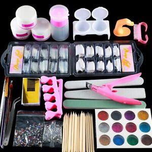 acrylic nail kits full set for beginners false gel glitter