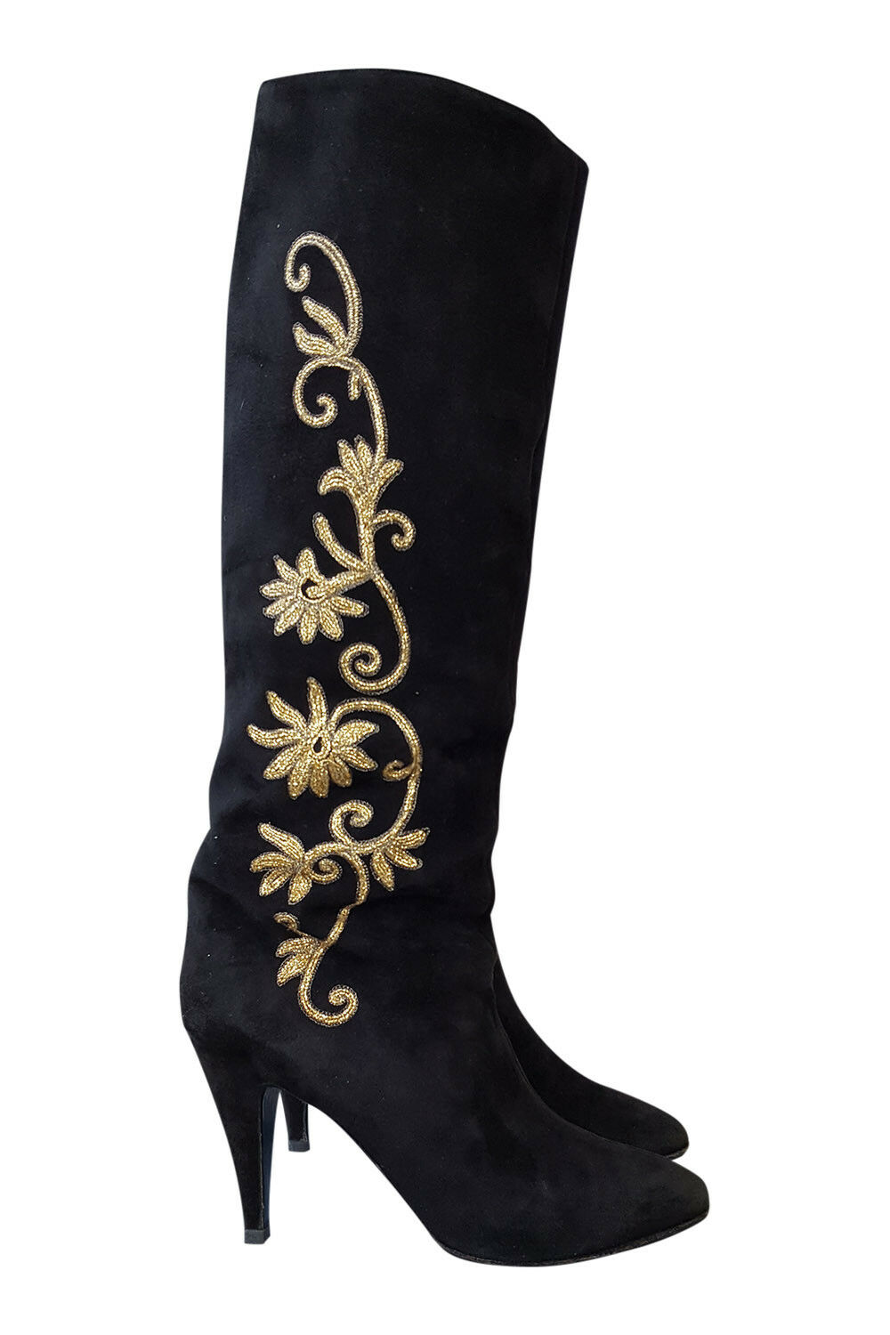 *ROGER VIVIER* BLACK AND GOLD SUEDE KNEE HIGH BOOTS (9)