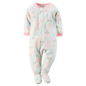 7e1d99581 Details about Carter s NWT 24M 3T 4T 5T Winter Girl Fleece PJ Footed Pajama  Sleeper