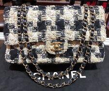 CHANEL CLASSIC BLACK-BEIGE TWEED FLAP GOLD CHAIN SHOULDER BAG