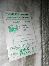 1955/6 divisione 2 Plymouth Argyle V Rotherham Uniti