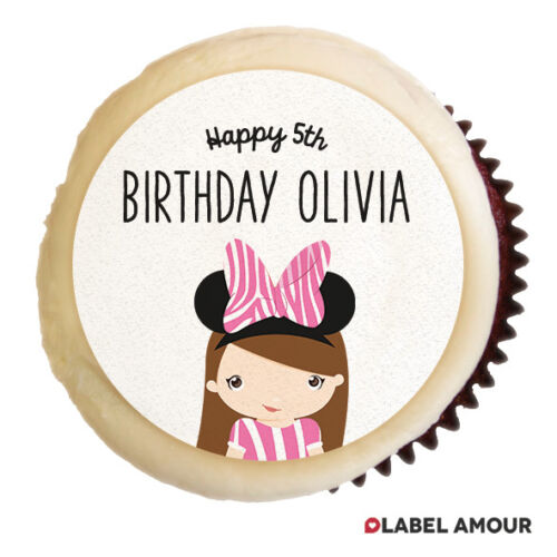 24 x PERSONALISED Minnie Birthday Party Cupcake Edible Toppers Cake Thank You