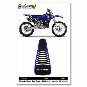 Black Top Pleated Enjoy MFG Pleated Seat Cover for Yamaha YZ 85 Blue Sides