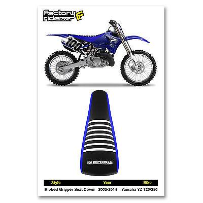 Enjoy MFG 2002-2014 Yamaha YZ 125-250 Blue Sides Black Top Full Gripper Seat Cover