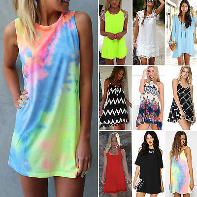 Sexy Women Sleeveless Short Mini Dress Casual Summer Sundress Swimwear Beachwear