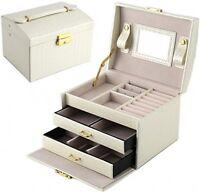 Dccn Travel Jewelry Box Heart Shape Jewelry Organizer With Mirror(pink)