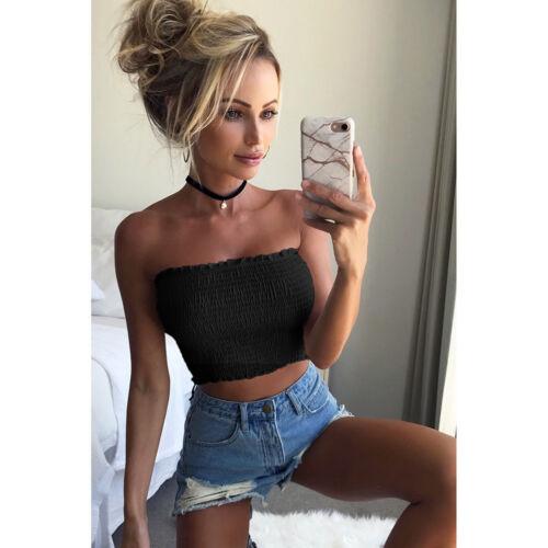 Women Off Shoulder Elastic Tube Tops Blouse Strapless Bandeau Crop Tops Shirt