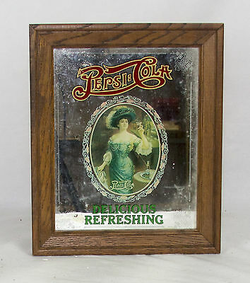 Pepsi Cola Delicious Refreshing Drink Mirror Wood Framed