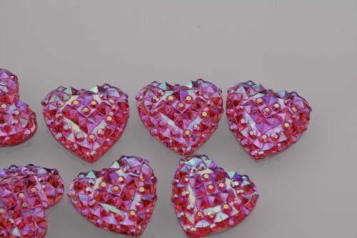 40Pcs Resin Heart Flatback Scrapbooking Rhinestone For DIY Craft 12mm 14mm