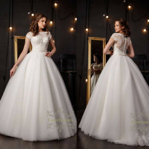 26f79de5b402 Amazing French lace wedding dress short sleeves beaded Ball bridal ...