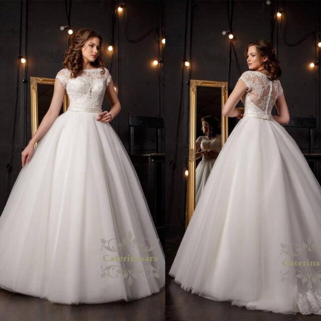 French Lace Wedding Dress Short Sleeves Beaded Ball Bridal