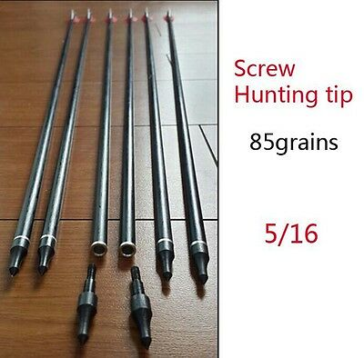 "Hunting 6pc 31"" Archery Nocks Fletched Steel Arrow Fiberglass(Change Arrow Head)"