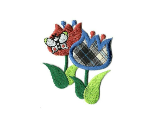 Garden Flower Butterfly Plaid /& Embroidered Iron On Applique Patch