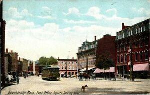 1906-SOUTHBRIDGE-MASS-POST-OFFICE-SQUARE-LOOKING-WEST-POSTCARD-KK2