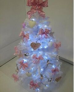 Details About Pre Lit White Christmas Tree With Pink Silver Decorations