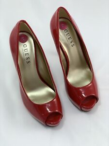 1f903f3b734 Details about NEW GUESS Red Patent Peep Toe Heels Size UK 5 / EU 38