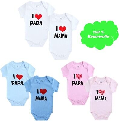 4er Pack Baby Bodys Ich Liebe ❤️ I love Mama /& I love Papa Body Strampler Set