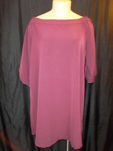 Lane-Bryant-3-4-Gathered-Sleeve-Boat-Neck-Shimmer-Sheath-Shift-Dress-Purple-NWT